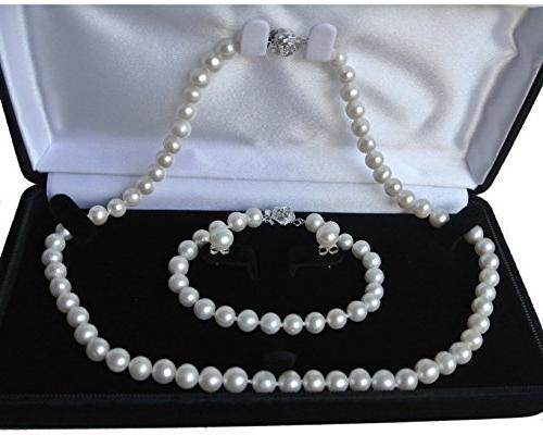 Pearl Romance Round White Strand Pearl Necklace Bracelet Stud 7mm 11mm