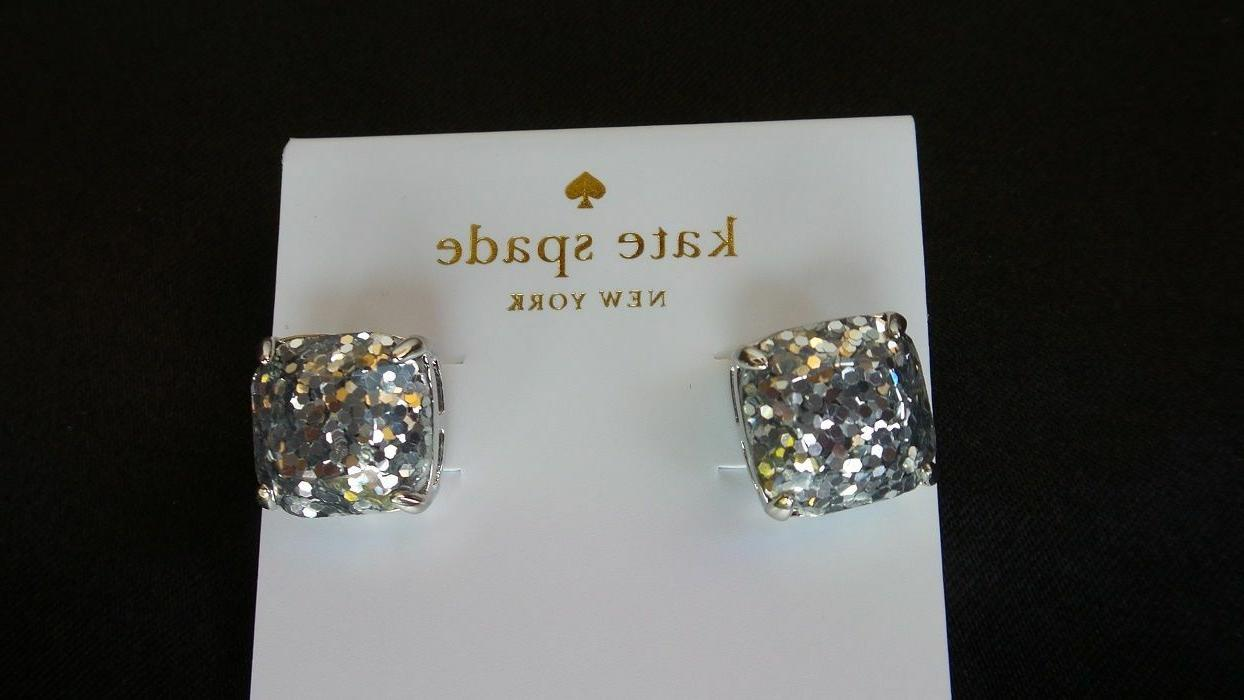 KATE SPADE Silver Square Stone Earrings