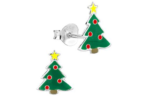 silver red green christmas tree