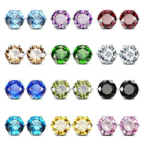 stainless steel cubic zirconia earrings for sensitive