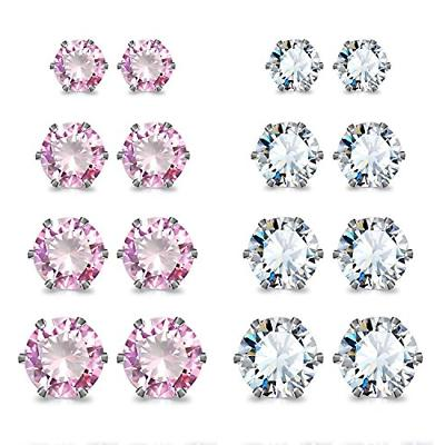 stainless steel cubic zirconia studs earrings round