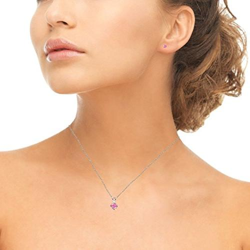 GemStar USA Simulated Pink Opal Round Solitaire Necklace Earrings Set