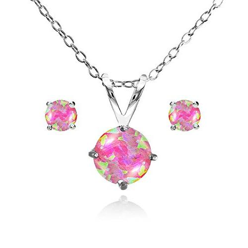 sterling silver simulated pink opal round solitaire