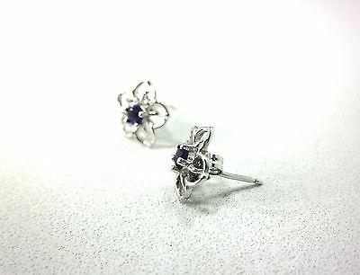 STERLING SPARKLING SILVER FLOWER STUD EARRINGS IMPORTED