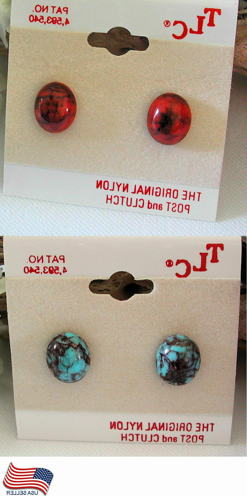 stud earrings faux turquoise faux coral your