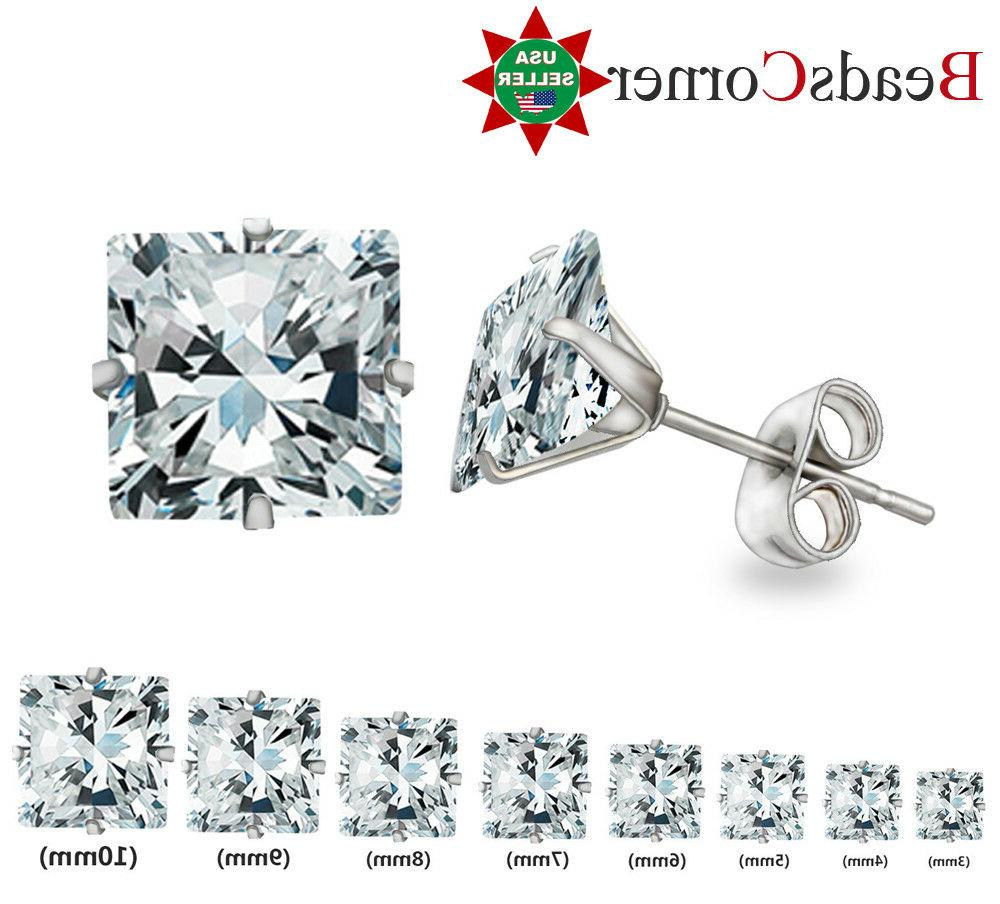 Surgical 316L Stainless Steel Stud Earrings Cubic Zircon Squ