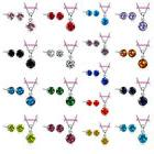 Sweet Candy Colors CZ Crystal Pendant Necklace Stud Earring
