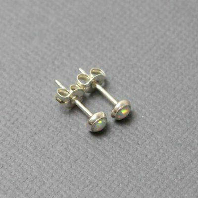 Small 3mm Post Earrings, Silver