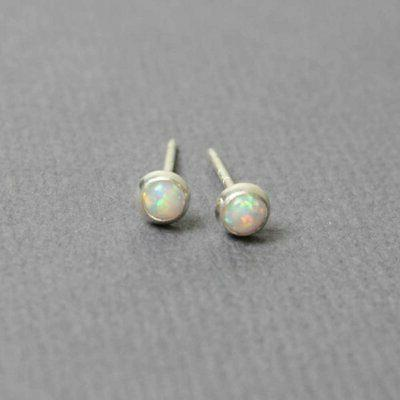 Tiny Opal Earrings, Small Lab Post