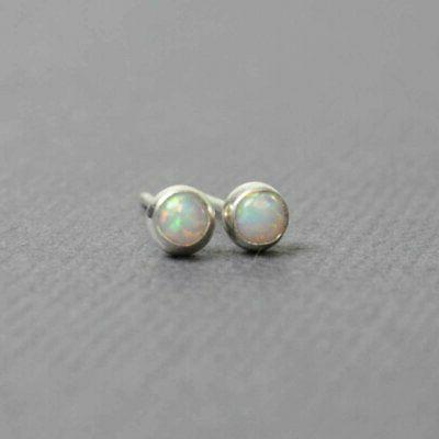 tiny opal stud earrings small 3mm lab