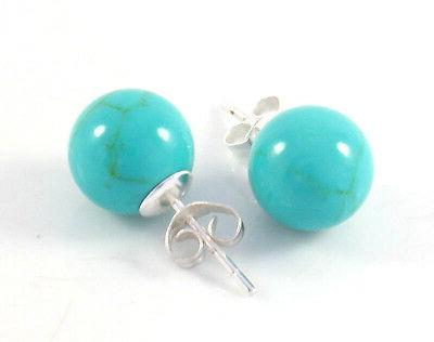 turquoise sterling silver 10mm ball stud earrings