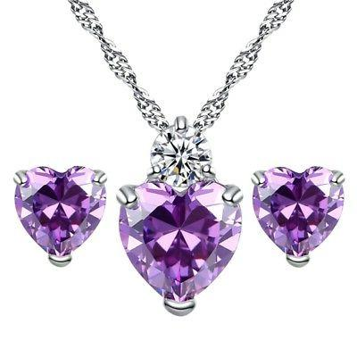 us women girls love heart crystal necklaces