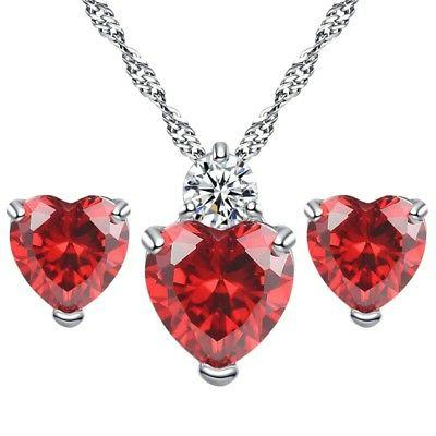 Valentine's Day Heart Stud Necklace Set Gifts for Women Girls