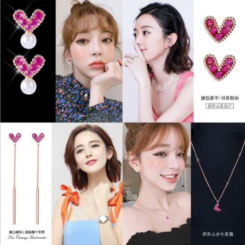 Womens Elegant Cute Maiden Heart Ear Studs Earrings Necklace