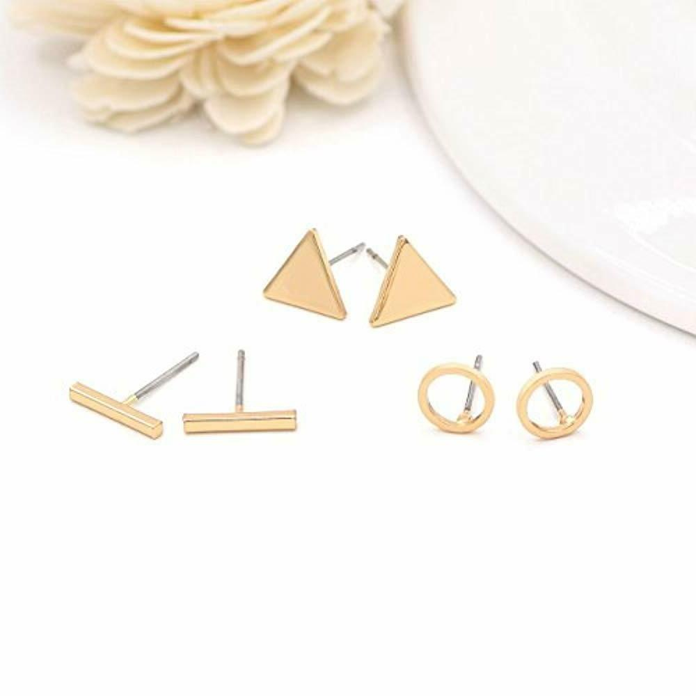 Zealmer Geometric Stud Set Silver 6 Pairs Simple