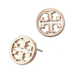 Tory Burch Logo Circle-Stud Rose Gold Earrings