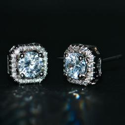 Luxury Round White Sapphire Square Stud Earrings 925 Silver