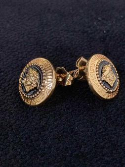 Versace Medusa Head Woman 0.5 in Round Golden Spiral Stud Ea