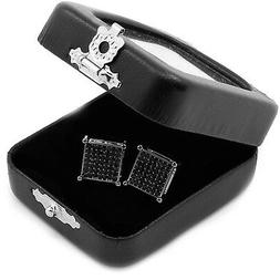 Men's Black Princess Cut Square Cz Basket Screw Back Stud Ea