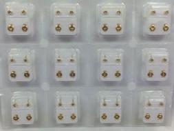 MINI Caflon Ear Piercing Gold Plated Clear Stone Studs 12 pa