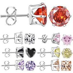 mixed shapes stainless steel stud earrings heart