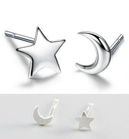 Moon Star Stud Earrings Solid 925 STERLING SILVER Brushed Ti