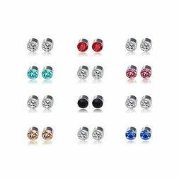 Multi Color Cubic Zirconia Stainless Steel Magnetic Stud Ear