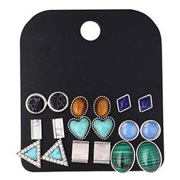 Multiple Vintage Geometric Stone Stud Earrings Sets for Wome