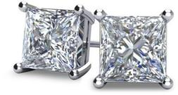 NANA Silver Princess CZ Stud Earrings with 14k Solid Gold Po
