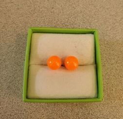 NEON ORANGE ROUND BALL PIERCED STUD EARRINGS ADULT / KID NEW
