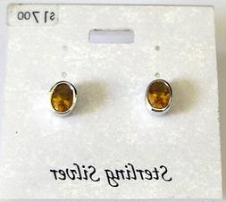 NEW FASHION JEWELRY Sterling Silver Amber faceted OVAL EARRI