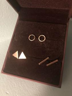 New Geometric Gold Stacking Stud Earrings  w/ Gift Box