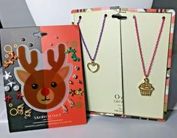 NEW! FAO SCHWARZ Girls 12 Pairs of Cute Earrings & 2 Necklac