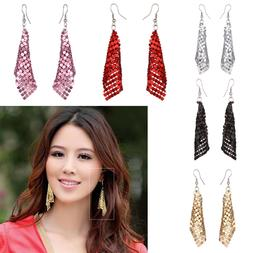 New Women Metal Geometry Tassel Earrings Long Hook Dangle Ea