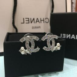 CHANEL NIB Crystal CC Logo Stud pierced Pearl Earrings