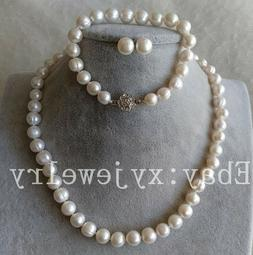 nice cultured 9-10mm white fresh water pearl necklace bracel