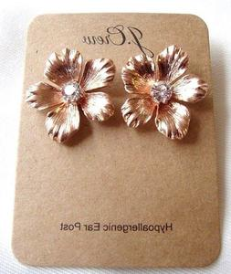 NWT J.CREW Rose Gold Tone PANSY With Glass Stones Flower Stu