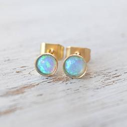 Opal stud earrings Gold Filled 4mm light blue opal tiny post