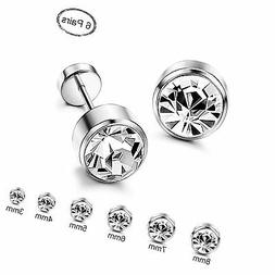 ORAZIO 6 Pairs Stainless Steel CZ Stud Earrings for Women Gi