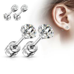 PAIR Prong Set CZ Gem Stud Earrings w/ Gem Centered Screw Ba