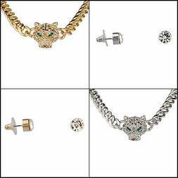 Pave Panther Chain Link Bling Necklace Matching Stud Earring