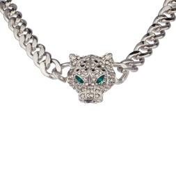 Lux Accessories Pave Panther Chain Link Bling Necklace Match
