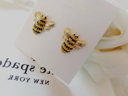 KATE SPADE Picnic Perfect Pave Bee Stud Earrings 12K Gold Pl