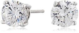 Platinum Plated Sterling Silver Stud Earrings set with Round