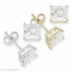 Princess Square Cut CZ Crystal Stud Earrings 925 Sterling Si