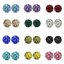 JewelrieShop Rhinestones Crystal Ball Stud Earrings Set Fire