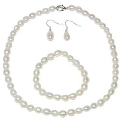 Rhodium Plated 3pc Cultured Freshwater White Pearl Necklace
