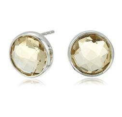 Rhodium-Plated Silver-tone Citrine Round Stud Earrings