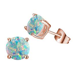 Rose Gold Plated Opal Stud Earrings for Women,Created Round