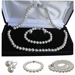 Pearl Romance Round White Strand Pearl Necklace Bracelet Stu